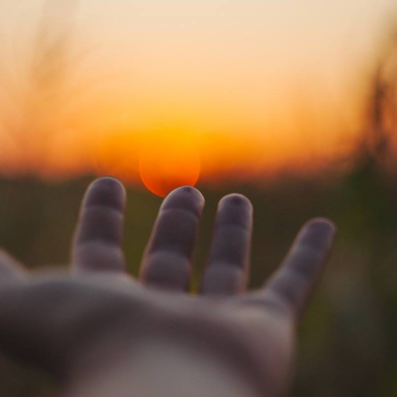 hand-sunset